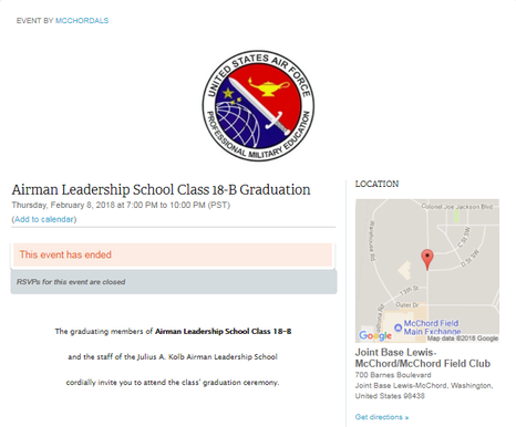memberplanet event page for Airman Leadership School Graduation